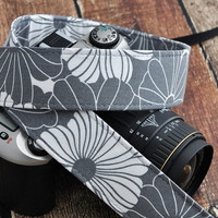 Fashion Camera Strap - Grey and White Large Floral - Designer dSLR Strap- Gift for Photographers