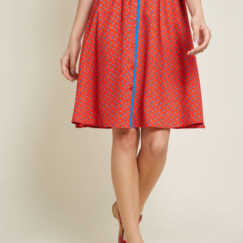 Style Identity A-Line Skirt in Cherries