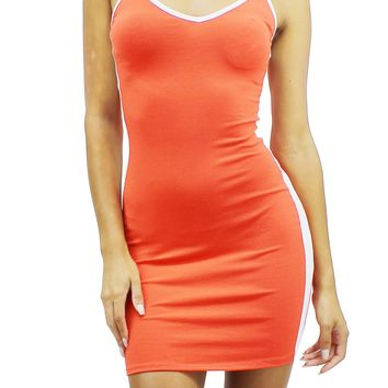 V-Neck Spaghetti Strap Strip Trim Mini Bodycon T-Shirt Mini Dress