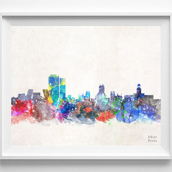 Madrid Skyline, Spain Watercolor, Poster, Spanish, Print, Bedroom, Cityscape, City Painting, Living, Illustration Art, Europe [NO 426]
