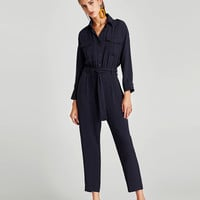 CREPE JUMPSUIT WITH BELT