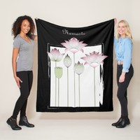 Pink Lotus Flower Namaste Elegant Modern Custom Fleece Blanket