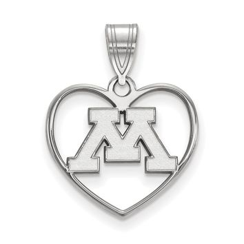 NCAA Sterling Silver U. of Minnesota Heart Pendant Necklace