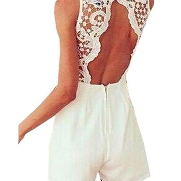 Sexy Womens V Neck Lace Sleeveless Bodycon Jumpsuit Romper Trousers Clubwear (S ( US 4-6 ), White)