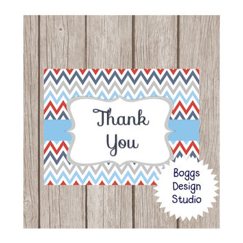 Nautical Chevron Thank You Card 4x6 Instant Download Navy Gray White Red