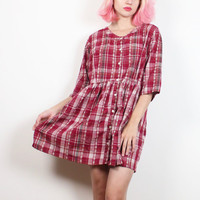 Vintage 90s Dress Burgundy Embroidered Plaid Mini Dress Soft Grunge Dress Babydoll Dress 1990s Dress Flannel Shirt Style Dress M Medium L