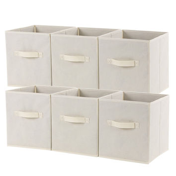 SONGMICS Set of 6 Foldable Storage Cubes Fabric Drawer Baskets Bins Set Close...