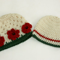Twin Baby hats holiday Christmas boy girl newborn 0-3 month