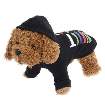 DCCKH6B Pet Dog Hoodies Coat Puppy Guard Dress Up Halloween Holiday Pet Jacket Transfiguration Pet Black Fashion Winter Sweater 2017