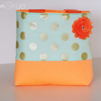 Mint and Orange Metallic Little Girl Purse - Toddler Purse - Girl Birthday Present - Flowergirl Gift