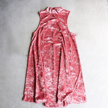 crushed velvet swingy tank dress - coral