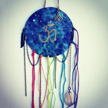 Chakra Galaxy Bohemian Decor Cryst Wall Hanger Galaxy Display Crystal Hanging Healing Crystals and Stones Bohemian Hanger Hand Painted