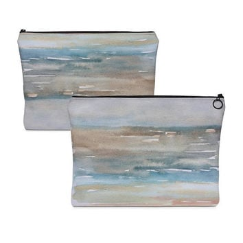 Beach Makeup bag, Carry All Pouch, zipper cosmetic bag, make up case, toiletry bag, canvas cosmetic case, ocean painted case, travel pouch