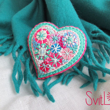 Happy heart.Bright Pink Turquoise Fireworks.Felt brooch. Valentine's Day gift. Hand embroidery. French knot. Gift for her.