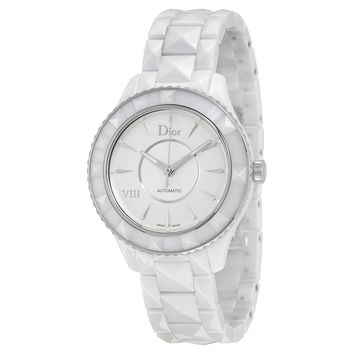 Dior VIII Automatic White Dial White Ceramic Ladies Watch CD1245E3C001