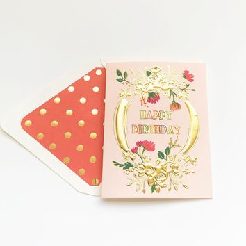 THE FIRST SNOW HAPPY BIRTHDAY GOLD EMBOSS CARTOUCHE CARD