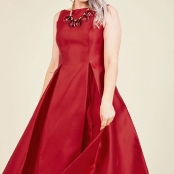 Careful What You Lavish For Midi Dress in Crimson | Mod Retro Vintage Dresses | ModCloth.com