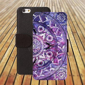 mandala watercolor iphone 5/ 5s iphone 4/ 4s iPhone 6 6 Plus iphone 5C Wallet Case , iPhone 5 Case, Cover, Cases colorful pattern L030