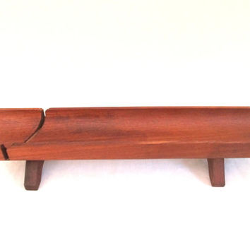 Wood Bread Cutting Tray Cradle Stand Vintage Home
