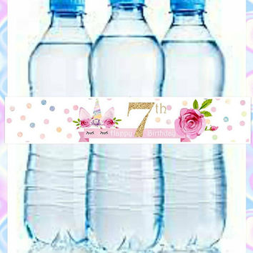 Unicorn Happy 7th Birthday Water Bottle Labels. 5 on a sheet, Digital Download, Please specify age. Glitter, gold, happy birthday, water