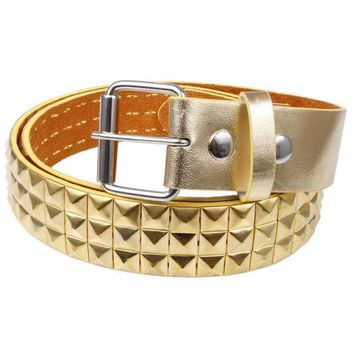PEAPGQ9 Gold Studded Leather Belt