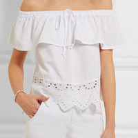 Madewell - Off-the-shoulder broderie anglaise cotton-blend top