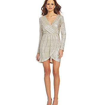 Gianni Bini Wesley Metallic Wrap Dress - Champagne