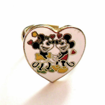 Mickey and Minnie Mouse Ring Adjustable Cloisonne Enamel Vintage Walt Disney Productions 40s 50s 60s 70s Small Size