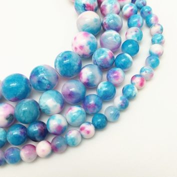 Natural Stone Blue Pink Double Color Zebra Jade Round Loose Beads Pick Size 6/8/10/12MM For Jewelry Making DIY