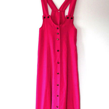 Pink pinafore dungaree dress / button / bronze / retro / vintage / 1980s / cotton blend / small / strappy / mid length dress