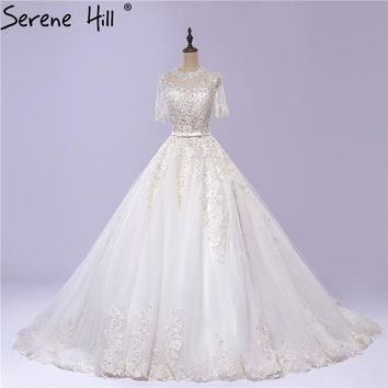 Half Sleeves O-Neck Simple Wedding Dress White Beading Appliques Tulle Ball Gown Bride Dress 2018 Robe De Mariage Serene Hill