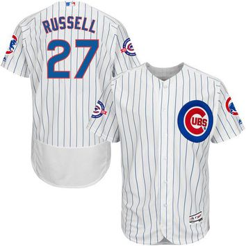 Men's Chicago Cubs Addison Russell Majestic Home White/Royal Flex Base Authentic Collection Jersey with 100 Years at Wrigley Field Commemorative Patch