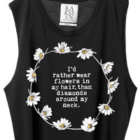 Flower Crown Cropped Tank - Black
