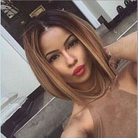 Two tones ombre medium long straight  hair Wig synthetic wigs