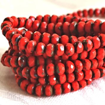 30 small, opaque bright red picasso puffy rondelle beads, 3mm x 5mm faceted Czech glass rondelles 51101