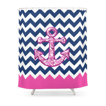 Society6 Glitter Pink Anchor Shower Curtain