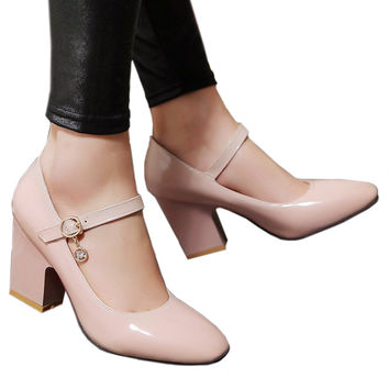 Small Square Last Heel Low-cut Buckle W ork Shoes Plus Size  camel