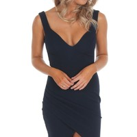 Deep V Asymmetric Midi Dress