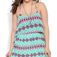 Plus Size Tribal Print Dress with Ruffle Bodice