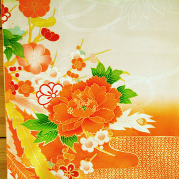 RARE Handpainted Floral Vintage Japanese silk kimono fabric for furisode