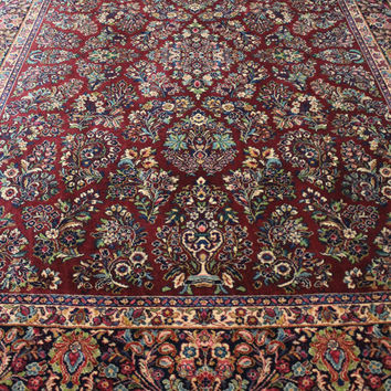 Karastan Rug 9x12 Rug Red Sarouk. Exquisite Karastan Area Rug #785. In Excellent Condition ~Gypsy Rugs (390)