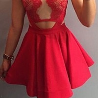 Red Beige Sheer Mesh Lace Sleeveless Halter Skater Circle A Line Flare Mini Dress
