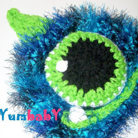 monster hat - baby boy photo prop - blue monster hat -  ready to ship fuzzy boy hat, boy Halloween costume