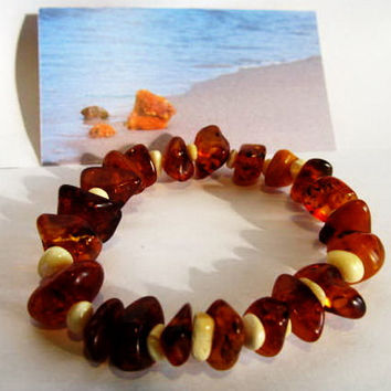"100% #Antique Natural Baltic #Amber #Bracelet 12.2 g, 8.46"" (21.5 cm)  Cognac  beads polished transparent"