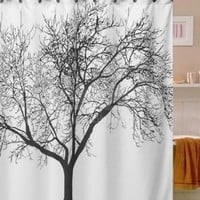 HOSL Waterproof Bathroom Fabric Shower Curtain, Tree Design (Black tree with white background, 180CM x 180CM)