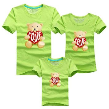ONETOW 1 pc Toy Bear Love 95% Cotton Shirt Yellow Colors Family Set T Shirts Matching Family Clothing Men Women Kids Large T-Shirts