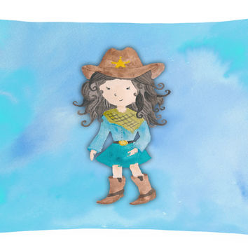 Cowgirl Watercolor Canvas Fabric Decorative Pillow BB7367PW1216