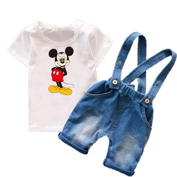 Toddler Boys Clothing Sets Kids Boys Clothes Summer 2017 Mickey Cartoon Fashion Baby Boys Clothing Suspender Jeans Shorts T6