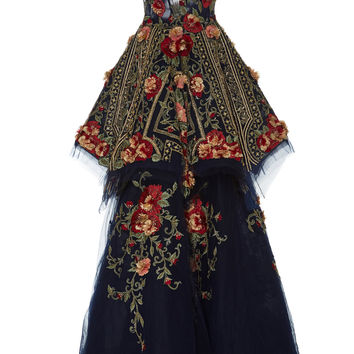 V-Neck Floral Embroidered Ball Gown | Moda Operandi