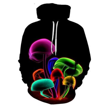 Colorful Mushroom Hoodies - Men's Novelty Pullover Hoodie